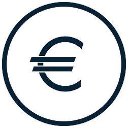 uploads/Piktogramm einer Geldkiste mit reinfallenden Euromünzen.